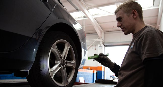 York Tyres Garage Mechanic doing tyres check on car - Gladstone Tyres and Autocare Garage in York